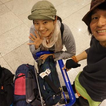 【出発~!韓国上空なう!】